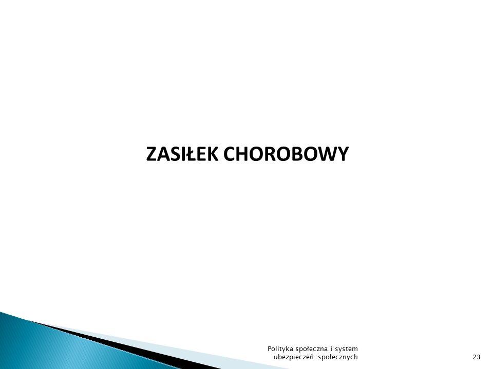 ZASIŁEK CHOROBOWY 23 Polityka społeczna i system ubezpieczeń społecznych