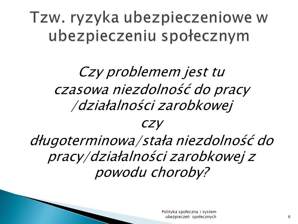  Prawo do zasiłku chorobowego od pierwszego dnia ubezpieczenia 37 Polityka społeczna i system ubezpieczeń społecznych