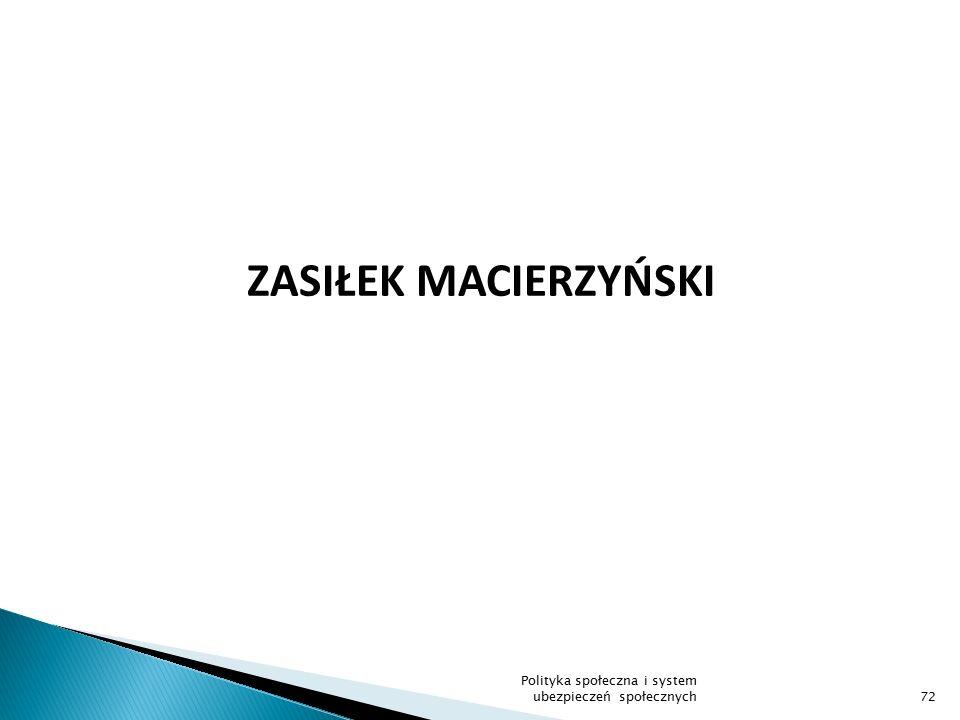 ZASIŁEK MACIERZYŃSKI 72 Polityka społeczna i system ubezpieczeń społecznych