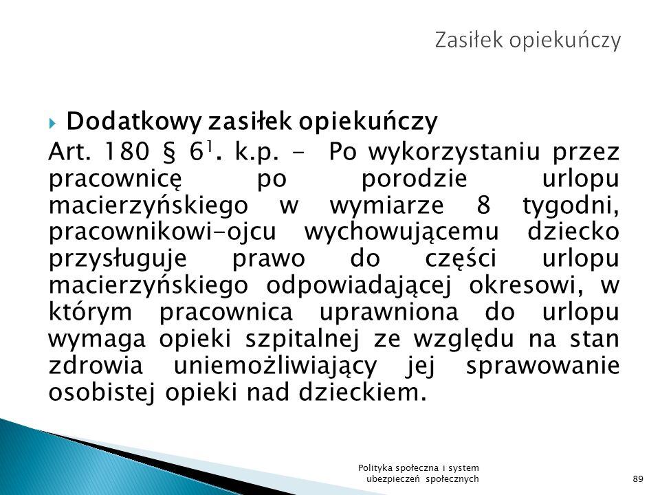  Dodatkowy zasiłek opiekuńczy Art.180 § 6 1. k.p.