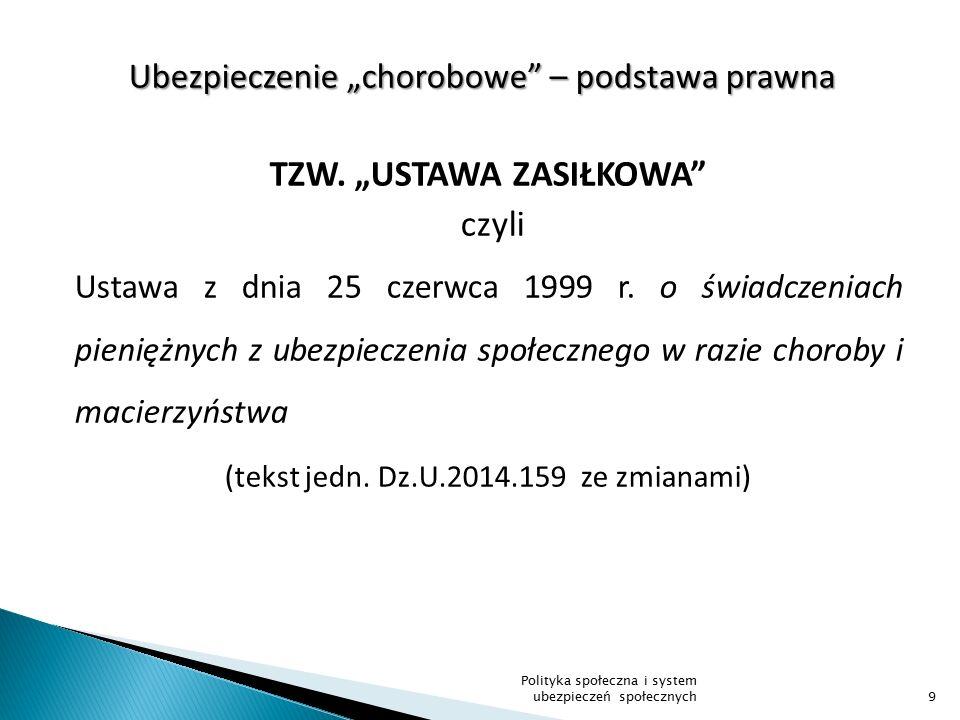 """Ubezpieczenie """"chorobowe – podstawa prawna TZW."""