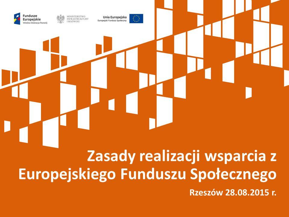 Zasady realizacji wsparcia z Europejskiego Funduszu Społecznego Rzeszów 28.08.2015 r.