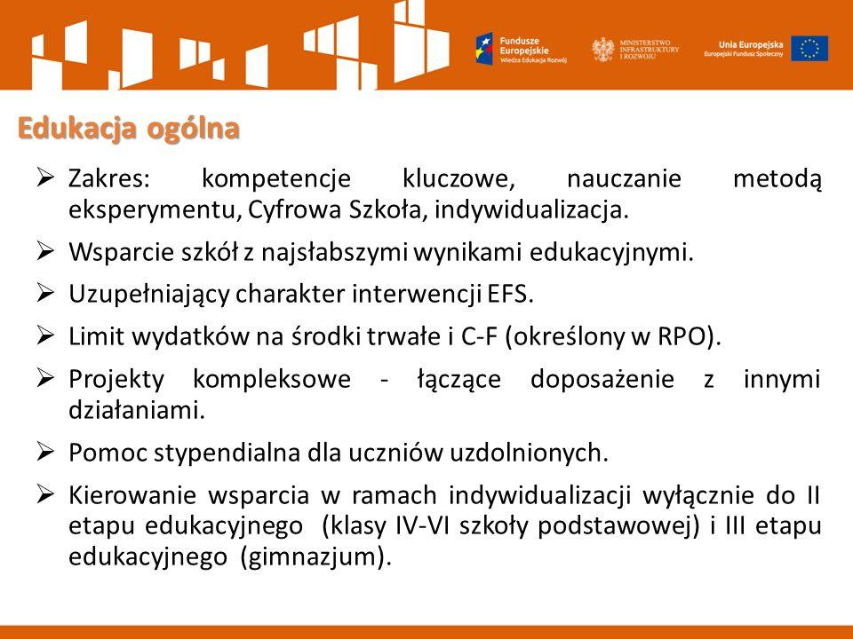 Edukacja ogólna  Zakres: kompetencje kluczowe, nauczanie metodą eksperymentu, Cyfrowa Szkoła, indywidualizacja.