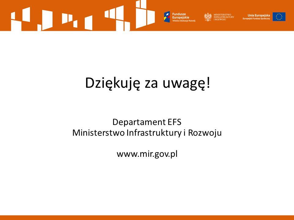 Dziękuję za uwagę! Departament EFS Ministerstwo Infrastruktury i Rozwoju www.mir.gov.pl