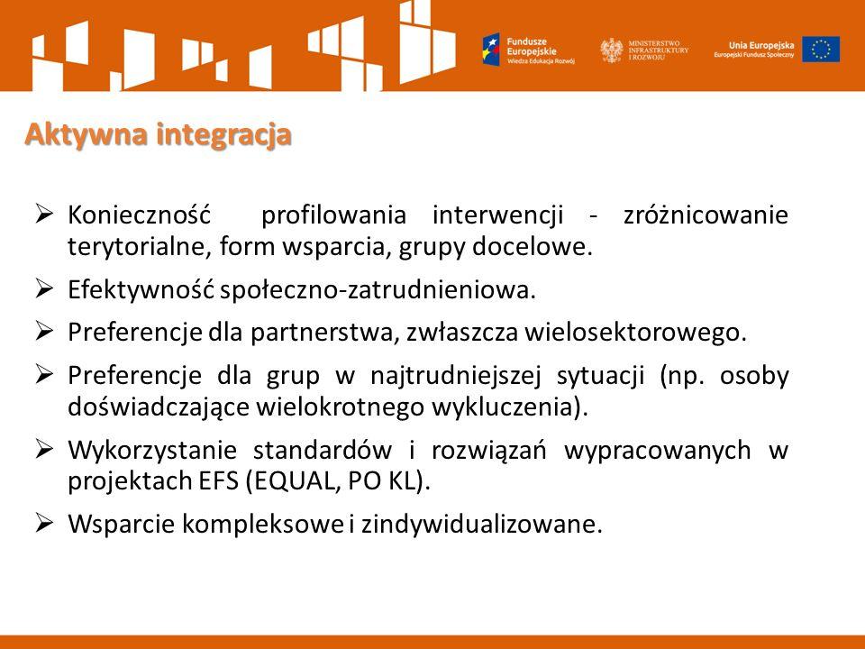 Aktywna integracja Aktywna integracja  Konieczność profilowania interwencji - zróżnicowanie terytorialne, form wsparcia, grupy docelowe.