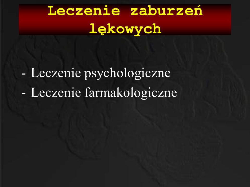 -Leczenie psychologiczne -Leczenie farmakologiczne Leczenie zaburzeń lękowych