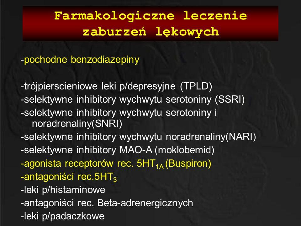 Farmakologiczne leczenie zaburzeń lękowych -pochodne benzodiazepiny -trójpierscieniowe leki p/depresyjne (TPLD) -selektywne inhibitory wychwytu seroto