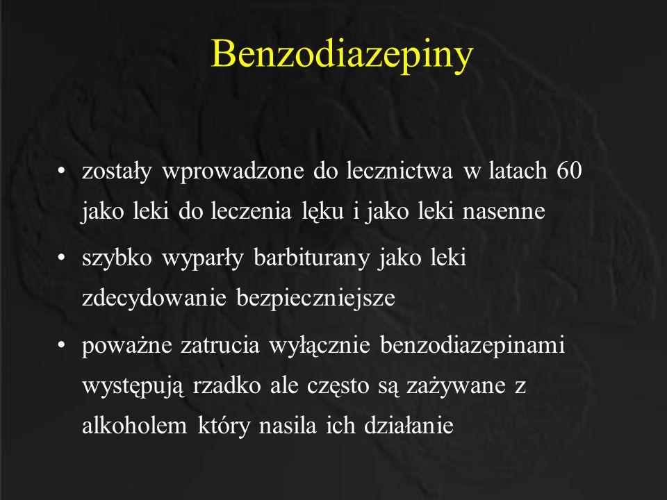 Benzodiazepiny zostały wprowadzone do lecznictwa w latach 60 jako leki do leczenia lęku i jako leki nasenne szybko wyparły barbiturany jako leki zdecy