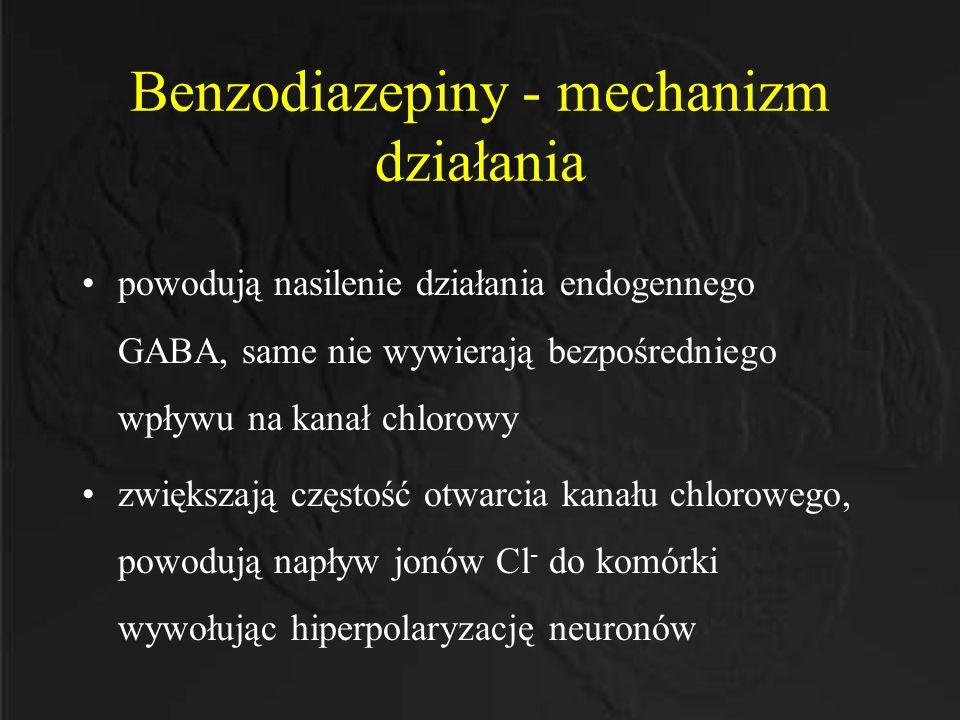Benzodiazepiny - mechanizm działania powodują nasilenie działania endogennego GABA, same nie wywierają bezpośredniego wpływu na kanał chlorowy zwiększ