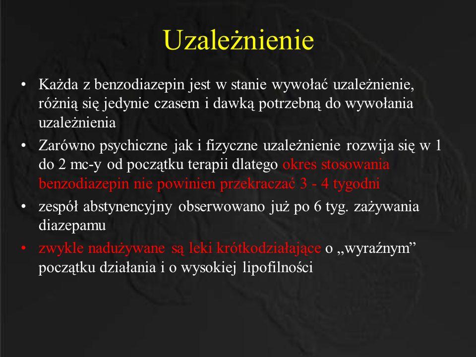 Uzależnienie Każda z benzodiazepin jest w stanie wywołać uzależnienie, różnią się jedynie czasem i dawką potrzebną do wywołania uzależnienia Zarówno p