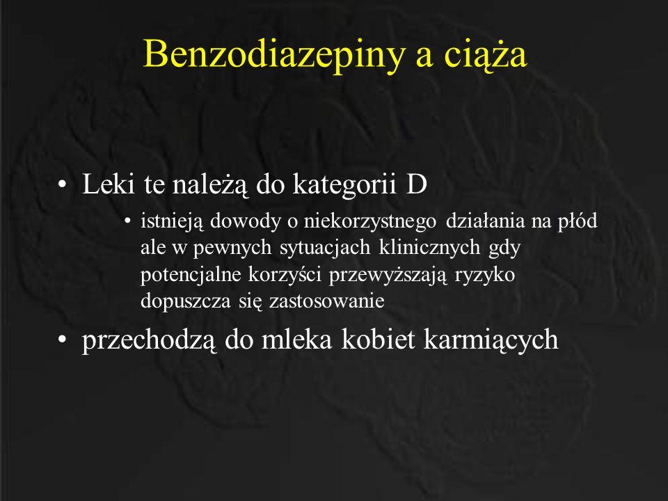 Benzodiazepiny a ciąża Leki te należą do kategorii D istnieją dowody o niekorzystnego działania na płód ale w pewnych sytuacjach klinicznych gdy poten