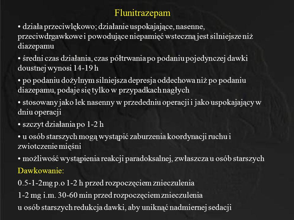 Flunitrazepam działa przeciwlękowo; działanie uspokajające, nasenne, przeciwdrgawkowe i powodujące niepamięć wsteczną jest silniejsze niż diazepamu śr