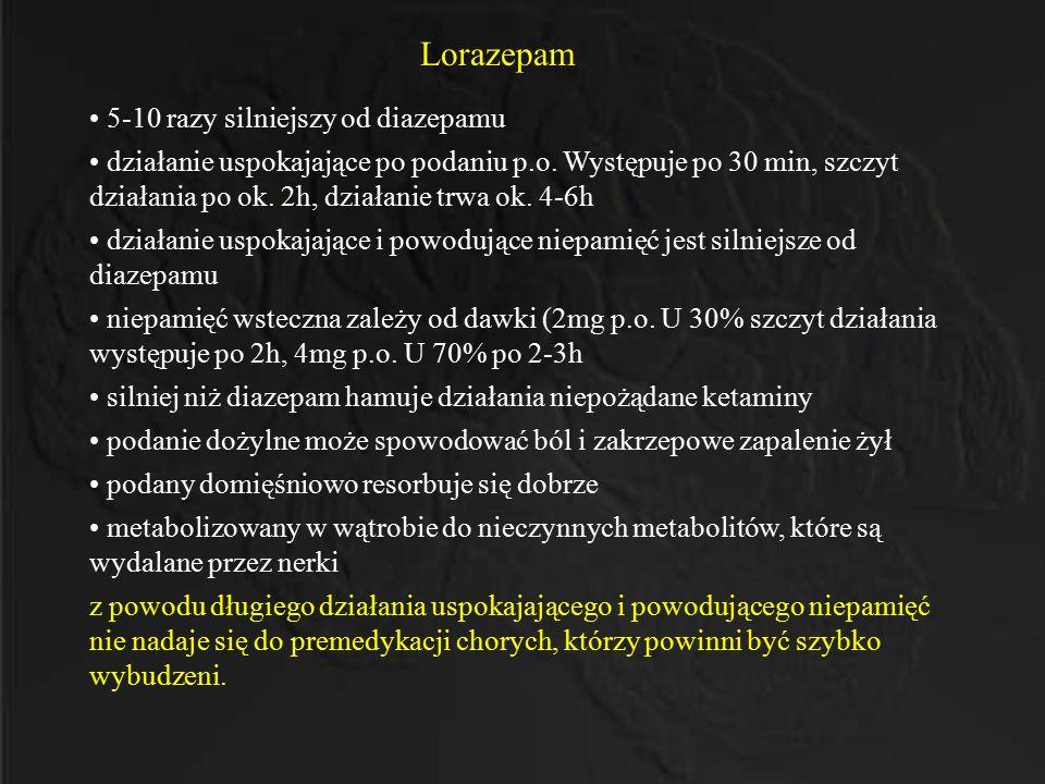 Lorazepam 5-10 razy silniejszy od diazepamu działanie uspokajające po podaniu p.o. Występuje po 30 min, szczyt działania po ok. 2h, działanie trwa ok.
