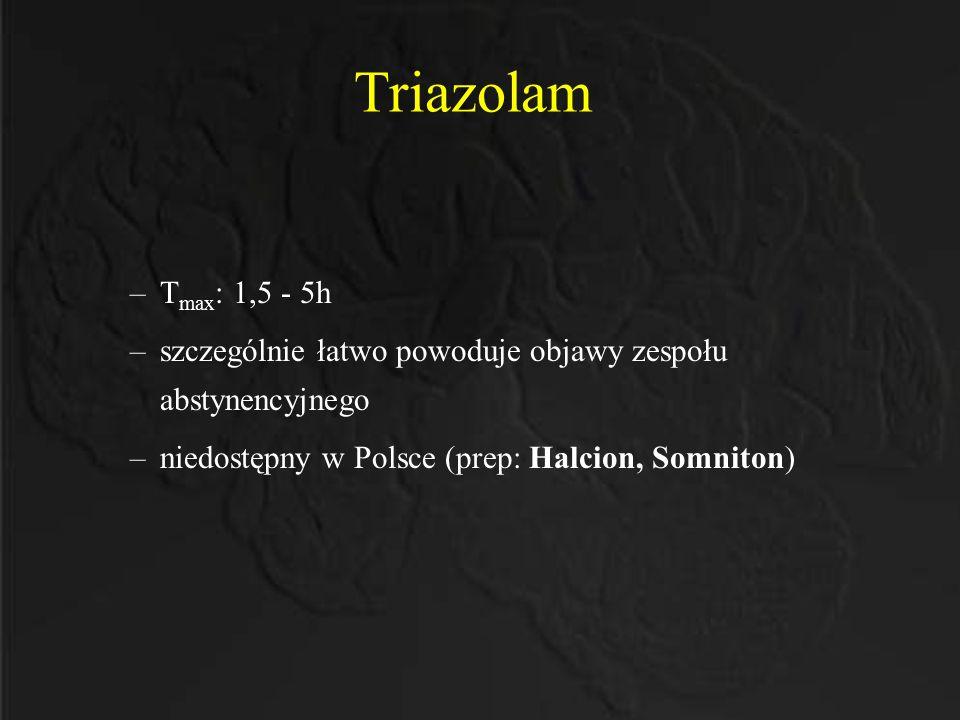 Triazolam –T max : 1,5 - 5h –szczególnie łatwo powoduje objawy zespołu abstynencyjnego –niedostępny w Polsce (prep: Halcion, Somniton)