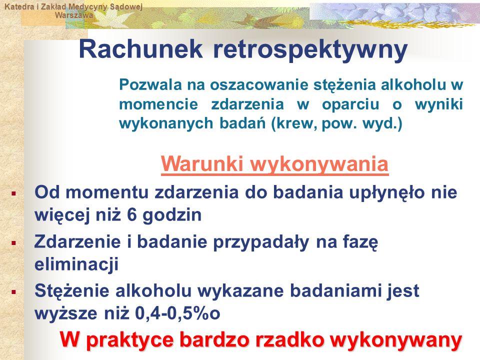 Katedra i Zakład Medycyny Sądowej Warszawa Warszawa Rachunek retrospektywny Pozwala na oszacowanie stężenia alkoholu w momencie zdarzenia w oparciu o wyniki wykonanych badań (krew, pow.