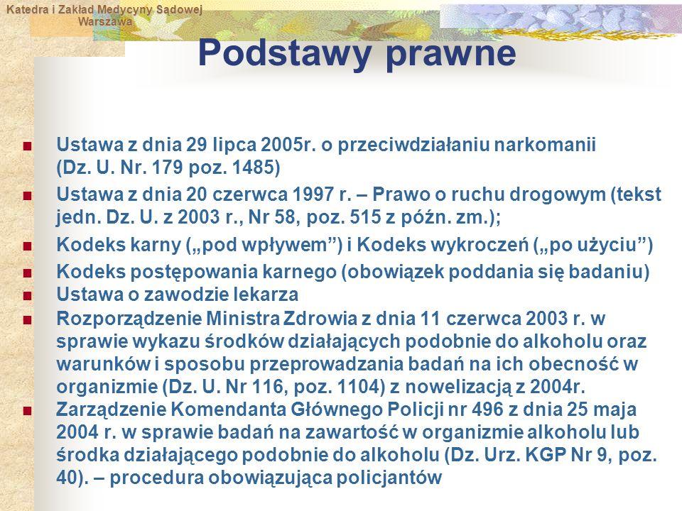 Katedra i Zakład Medycyny Sądowej Warszawa Warszawa Podstawy prawne Ustawa z dnia 29 lipca 2005r.