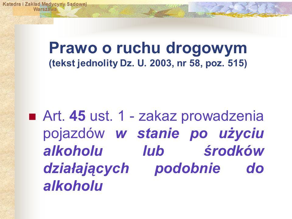 Katedra i Zakład Medycyny Sądowej Warszawa Warszawa Prawo o ruchu drogowym (tekst jednolity Dz.