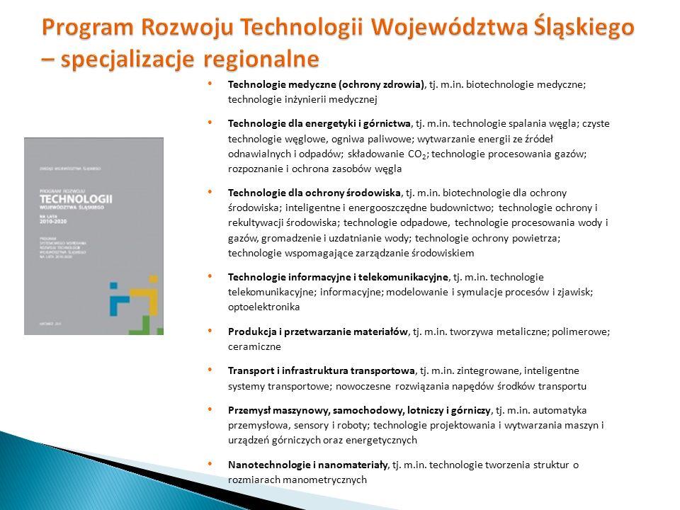 Technologie medyczne (ochrony zdrowia), tj. m.in. biotechnologie medyczne; technologie inżynierii medycznej Technologie dla energetyki i górnictwa, tj