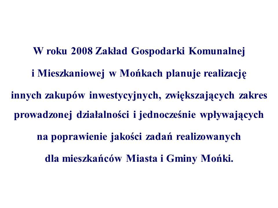 W roku 2008 Zakład Gospodarki Komunalnej i Mieszkaniowej w Mońkach planuje realizację innych zakupów inwestycyjnych, zwiększających zakres prowadzonej działalności i jednocześnie wpływających na poprawienie jakości zadań realizowanych dla mieszkańców Miasta i Gminy Mońki.