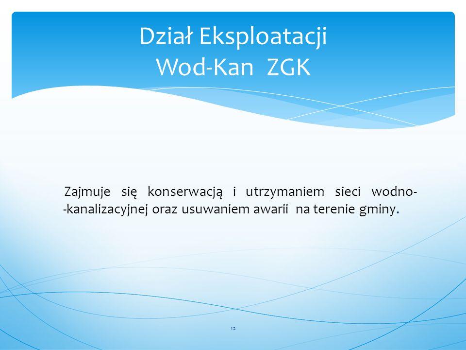 Dział Eksploatacji Wod-Kan ZGK Zajmuje się konserwacją i utrzymaniem sieci wodno- -kanalizacyjnej oraz usuwaniem awarii na terenie gminy. 12