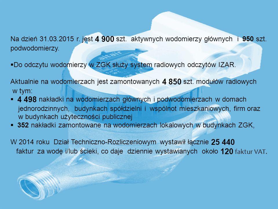 16 Na dzień 31.03.2015 r. jest 4 900 szt. aktywnych wodomierzy głównych i 950 szt. podwodomierzy.  Do odczytu wodomierzy w ZGK służy system radiowych
