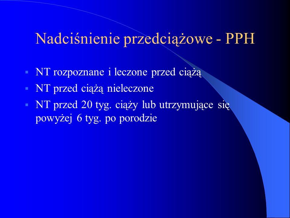 Nadciśnienie przedciążowe - PPH  NT rozpoznane i leczone przed ciążą  NT przed ciążą nieleczone  NT przed 20 tyg. ciąży lub utrzymujące się powyżej