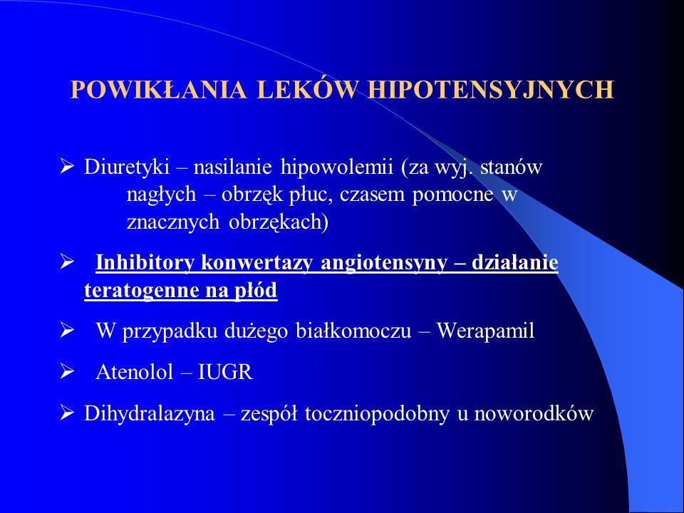 POWIKŁANIA LEKÓW HIPOTENSYJNYCH  Diuretyki – nasilanie hipowolemii (za wyj. stanów nagłych – obrzęk płuc, czasem pomocne w znacznych obrzękach)  Inh