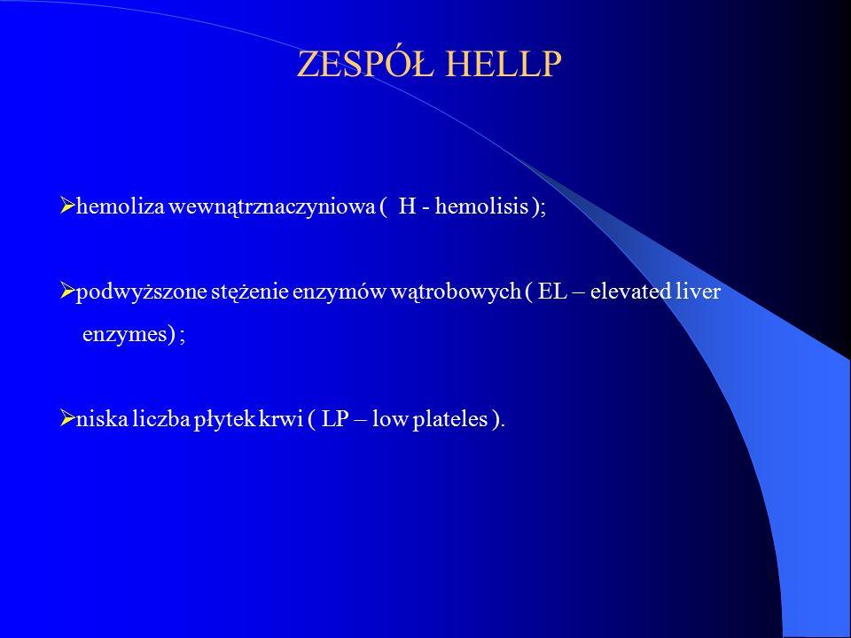 ZESPÓŁ HELLP  hemoliza wewnątrznaczyniowa ( H - hemolisis );  podwyższone stężenie enzymów wątrobowych ( EL – elevated liver enzymes) ;  niska licz