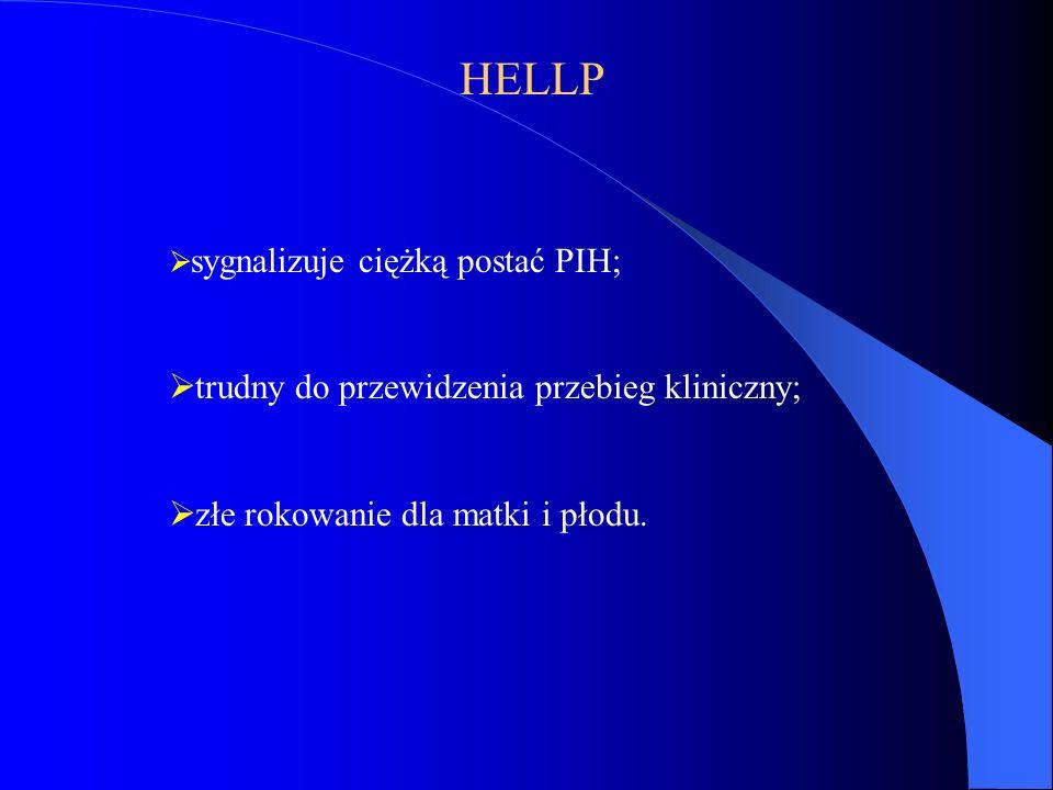 HELLP  sygnalizuje ciężką postać PIH;  trudny do przewidzenia przebieg kliniczny;  złe rokowanie dla matki i płodu.