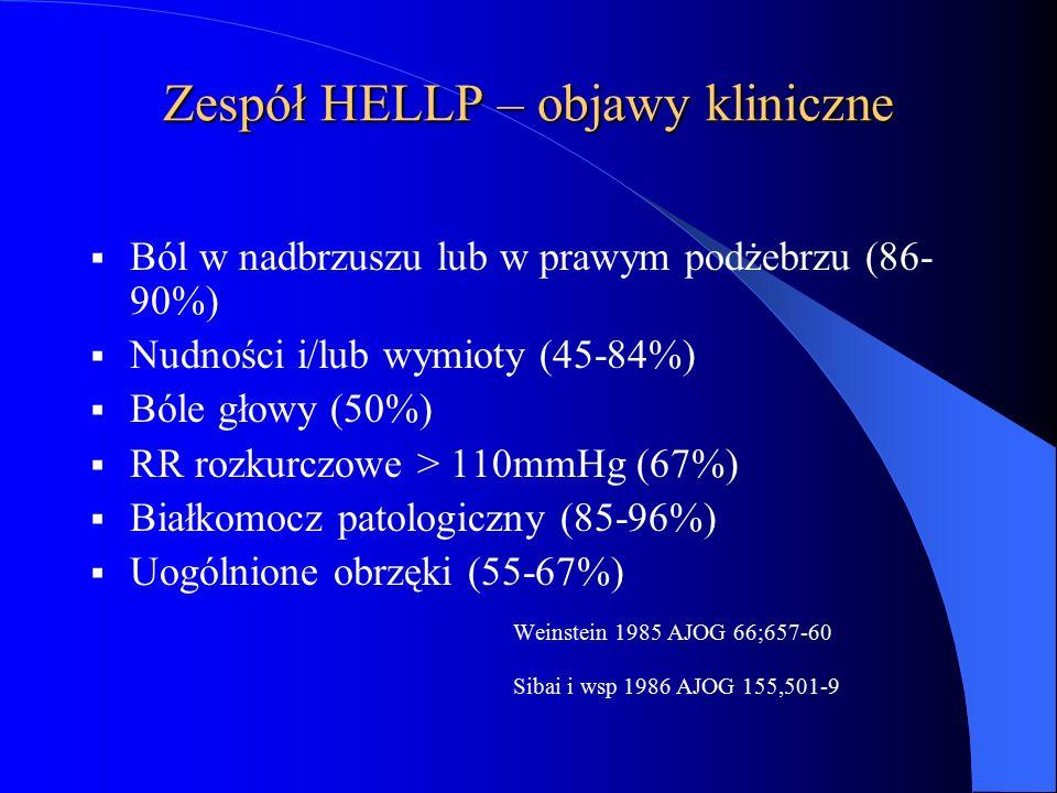 Zespół HELLP – objawy kliniczne  Ból w nadbrzuszu lub w prawym podżebrzu (86- 90%)  Nudności i/lub wymioty (45-84%)  Bóle głowy (50%)  RR rozkurcz