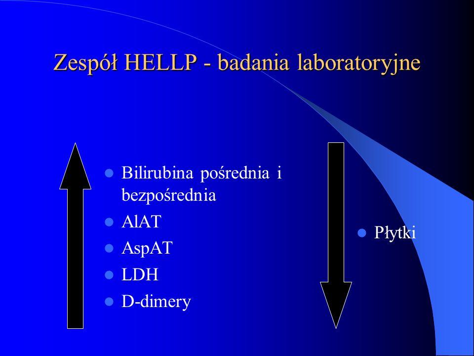 Zespół HELLP - badania laboratoryjne Bilirubina pośrednia i bezpośrednia AlAT AspAT LDH D-dimery Płytki