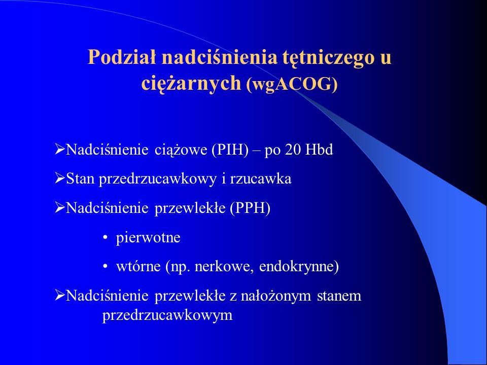 Podział nadciśnienia tętniczego u ciężarnych (wgESH i ECG 2003)  Nadciśnienie przewlekłe (PPH)  Nadciśnienie tętnicze ciążowe ( + Białkomocz = Stan przedrzucawkowy)  Nadciśnienie przewlekłe z nałożonym stanem przedrzucawkowym  Nadciśnienie tętnicze niesklasyfikowane przed porodem