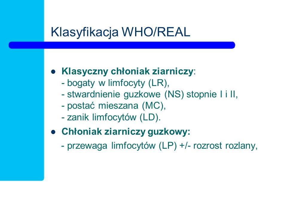 Klasyfikacja WHO/REAL Klasyczny chłoniak ziarniczy: - bogaty w limfocyty (LR), - stwardnienie guzkowe (NS) stopnie I i II, - postać mieszana (MC), - zanik limfocytów (LD).