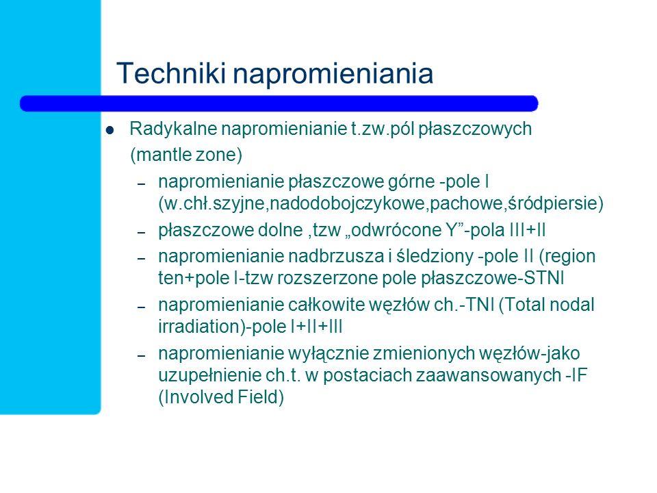 Techniki napromieniania Radykalne napromienianie t.zw.pól płaszczowych (mantle zone) – napromienianie płaszczowe górne -pole I (w.chł.szyjne,nadodoboj