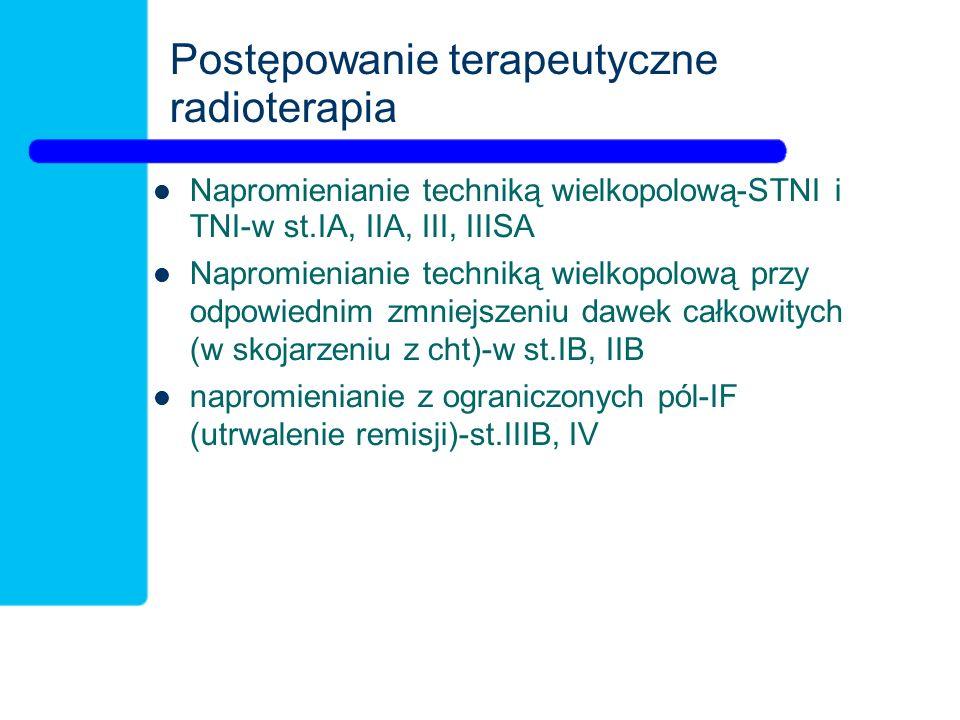 Postępowanie terapeutyczne radioterapia Napromienianie techniką wielkopolową-STNI i TNI-w st.IA, IIA, III, IIISA Napromienianie techniką wielkopolową przy odpowiednim zmniejszeniu dawek całkowitych (w skojarzeniu z cht)-w st.IB, IIB napromienianie z ograniczonych pól-IF (utrwalenie remisji)-st.IIIB, IV