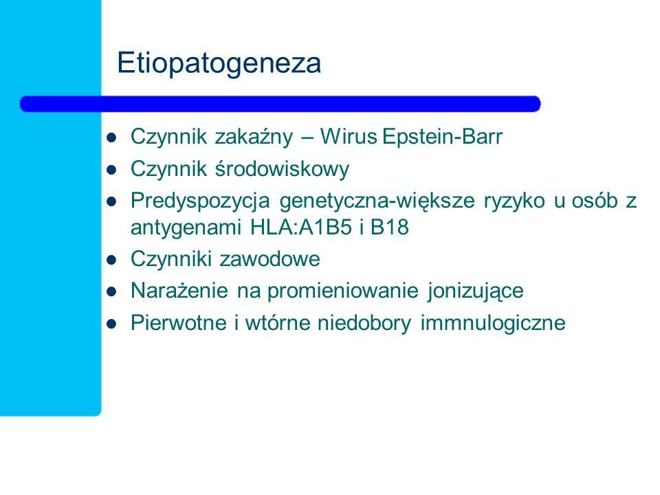 Etiopatogeneza Czynnik zakaźny – Wirus Epstein-Barr Czynnik środowiskowy Predyspozycja genetyczna-większe ryzyko u osób z antygenami HLA:A1B5 i B18 Czynniki zawodowe Narażenie na promieniowanie jonizujące Pierwotne i wtórne niedobory immnulogiczne