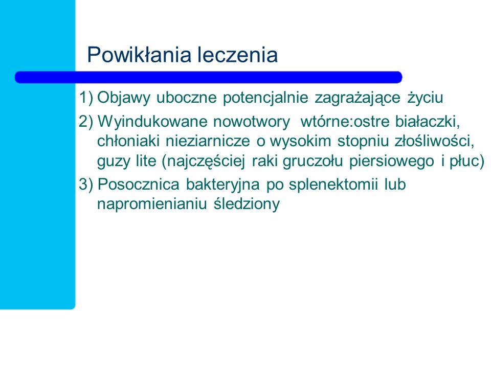 Powikłania leczenia 1)Objawy uboczne potencjalnie zagrażające życiu 2) Wyindukowane nowotwory wtórne:ostre białaczki, chłoniaki nieziarnicze o wysokim stopniu złośliwości, guzy lite (najczęściej raki gruczołu piersiowego i płuc) 3) Posocznica bakteryjna po splenektomii lub napromienianiu śledziony
