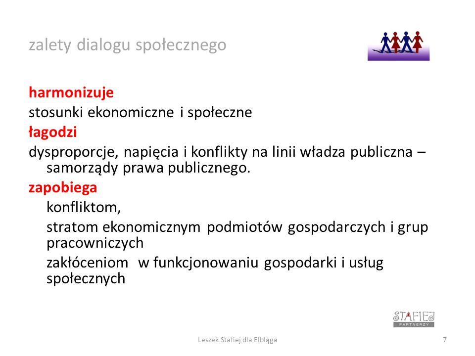 cel dialogu społecznego wspólnota wiedzy i wspólnota celów oparta na świadomym dążeniu wszystkich uczestników do porozumienia na temat korzystnego, zrównoważonego rozwoju poprzez wspólny, nieograniczony dostęp do informacji i edukacji Leszek Stafiej dla Elbląga8