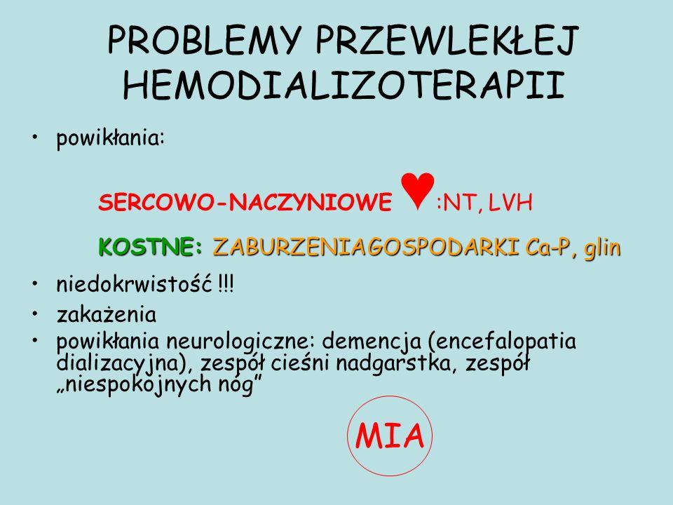powikłania: SERCOWO-NACZYNIOWE ♥ :NT, LVH KOSTNE: ZABURZENIAGOSPODARKI Ca-P, glin niedokrwistość !!! zakażenia powikłania neurologiczne: demencja (enc