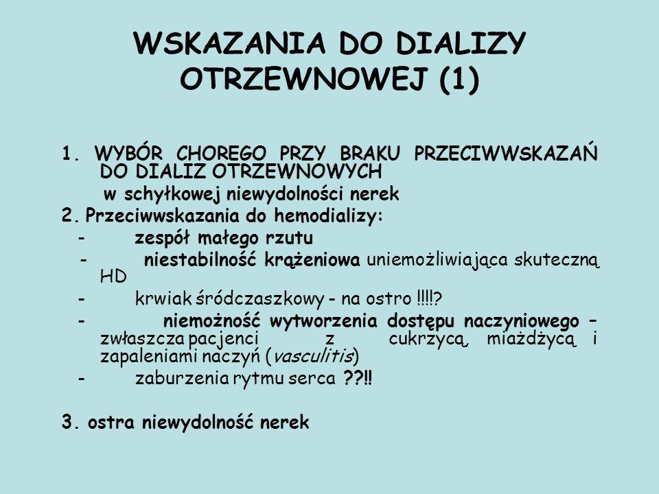 WSKAZANIA DO DIALIZY OTRZEWNOWEJ (1) 1.