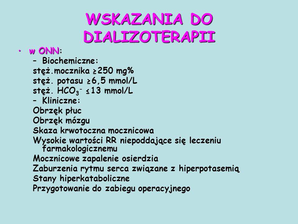 w ONNw ONN: –Biochemiczne: stęż.mocznika ≥250 mg% stęż. potasu ≥6,5 mmol/L stęż. HCO 3 - ≤13 mmol/L –Kliniczne: Obrzęk płuc Obrzęk mózgu Skaza krwotoc