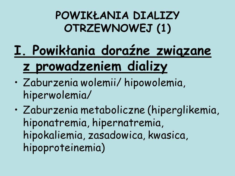 POWIKŁANIA DIALIZY OTRZEWNOWEJ (1) I. Powikłania doraźne związane z prowadzeniem dializy Zaburzenia wolemii/ hipowolemia, hiperwolemia/ Zaburzenia met
