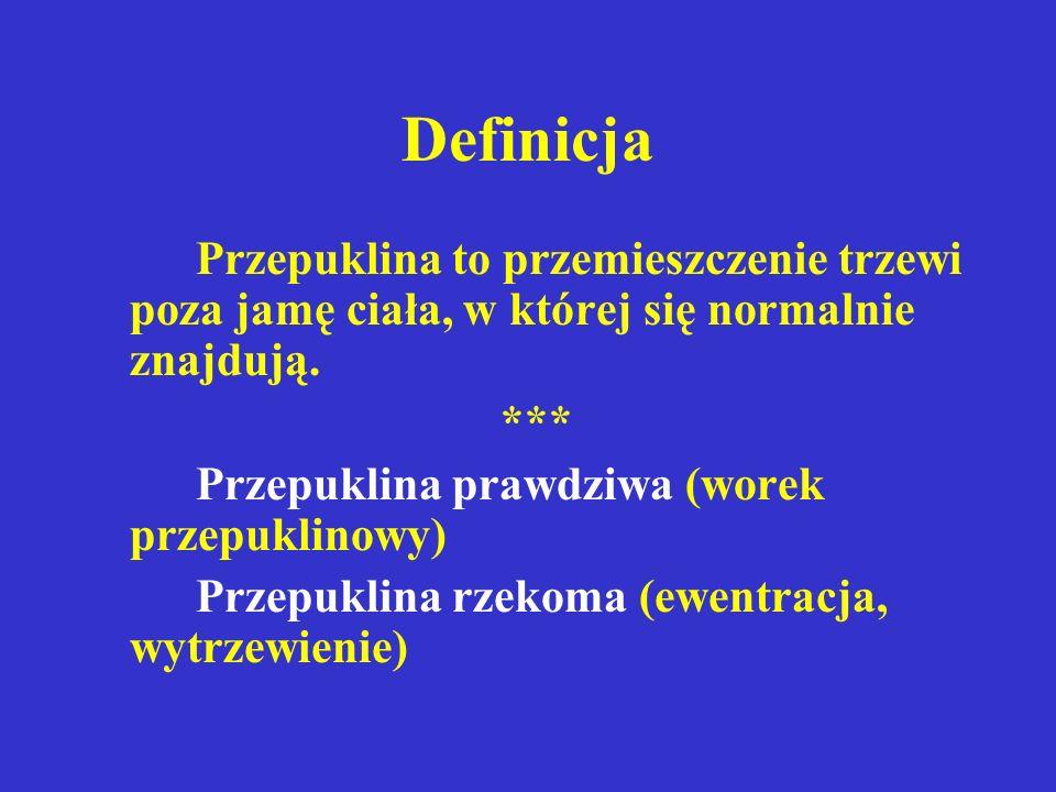 Objawy przepuklin(2) Uwięźnięta  Ostre bóle w rzucie wrót przepuklinowych  Twardy, bolesny, nieodprowadzalny guz  Objawy niedrożności mechanicznej jelit
