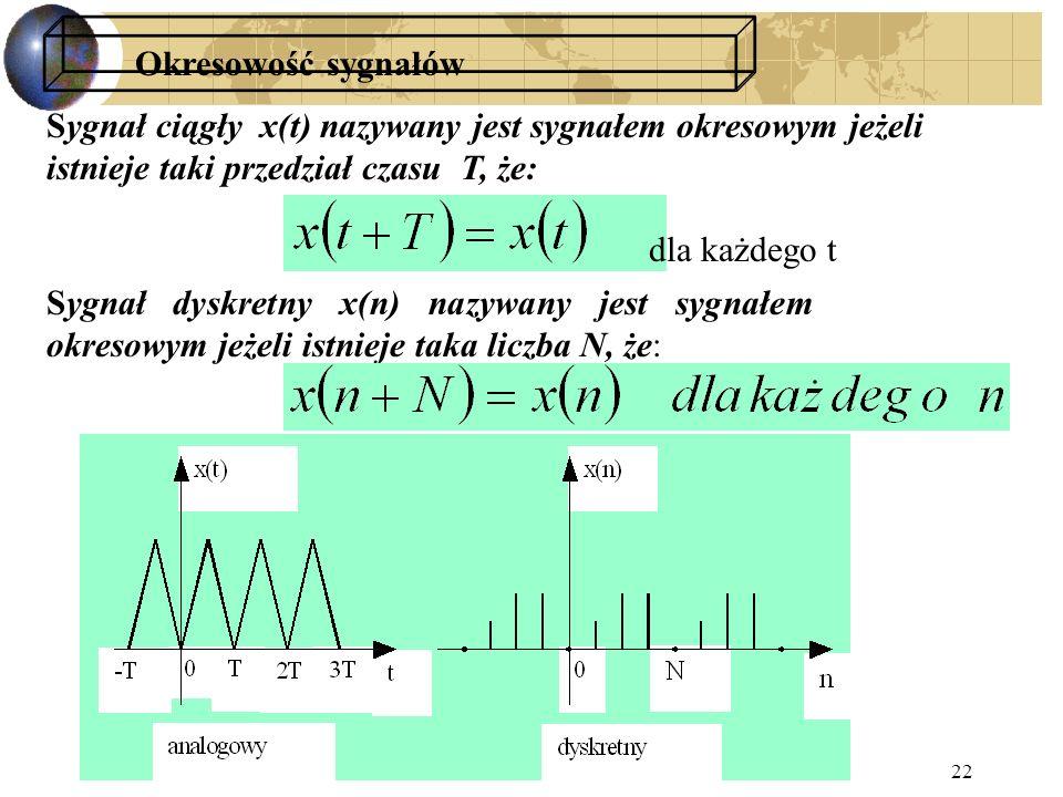 2015-10-17PTS 2015/16 PŁ22 Sygnał ciągły x(t) nazywany jest sygnałem okresowym jeżeli istnieje taki przedział czasu T, że: Okresowość sygnałów dla każ