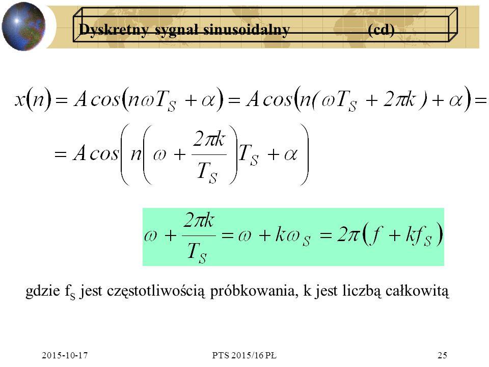 2015-10-17PTS 2015/16 PŁ25 Dyskretny sygnał sinusoidalny (cd) gdzie f S jest częstotliwością próbkowania, k jest liczbą całkowitą