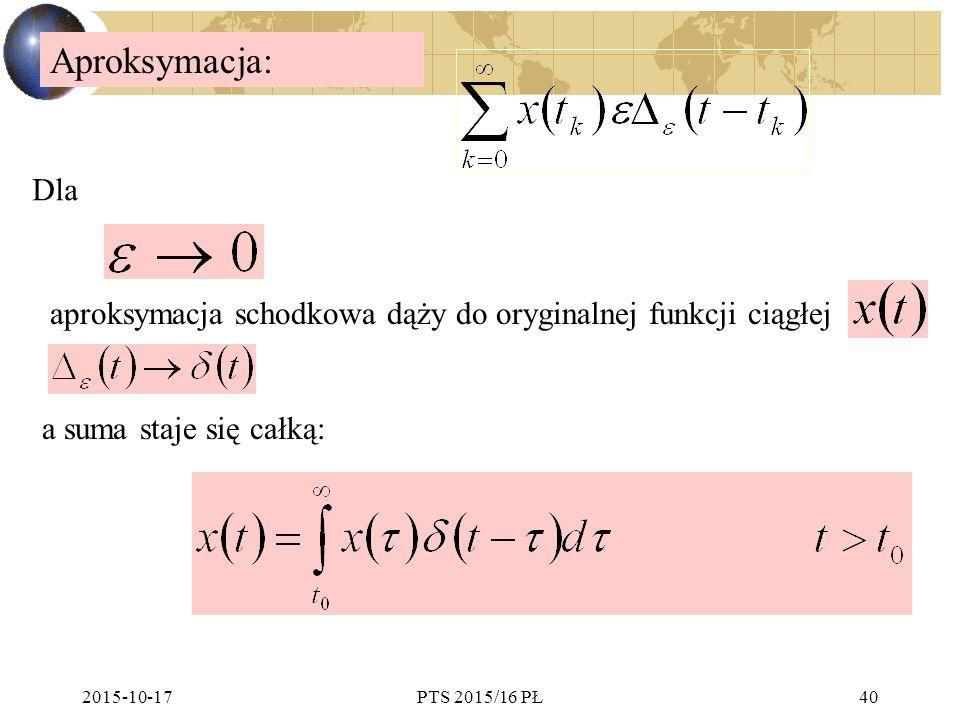 2015-10-17PTS 2015/16 PŁ40 Aproksymacja: aproksymacja schodkowa dąży do oryginalnej funkcji ciągłej a suma staje się całką: Dla