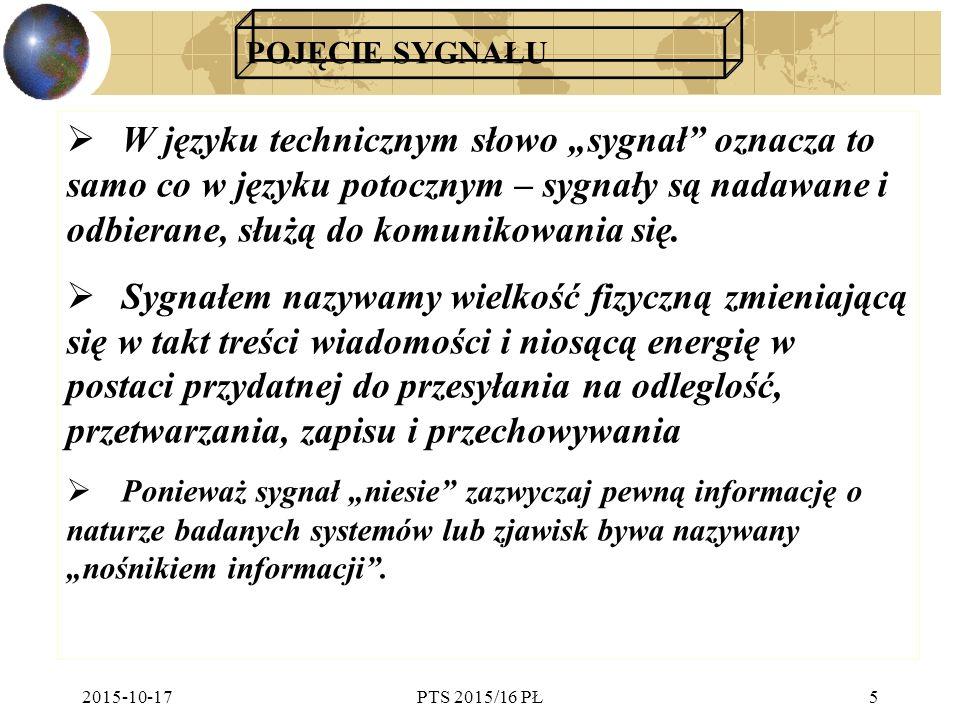 """2015-10-17PTS 2015/16 PŁ5 POJĘCIE SYGNAŁU  W języku technicznym słowo """"sygnał"""" oznacza to samo co w języku potocznym – sygnały są nadawane i odbieran"""