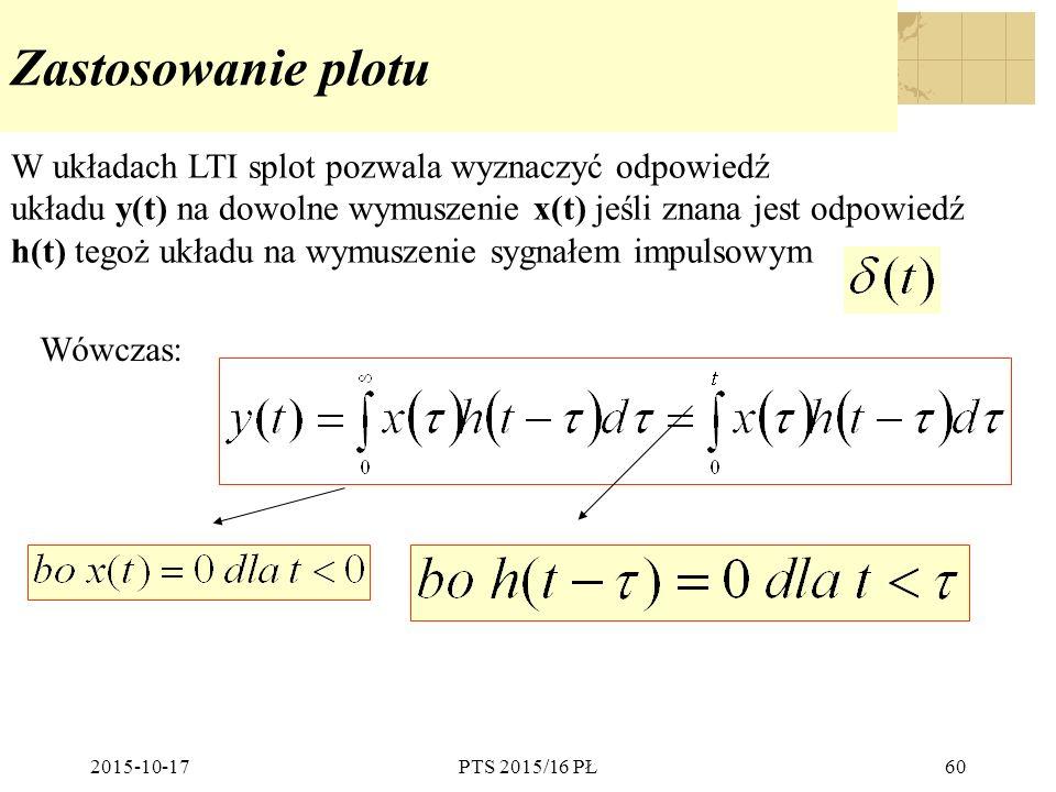 2015-10-17PTS 2015/16 PŁ60 Zastosowanie plotu W układach LTI splot pozwala wyznaczyć odpowiedź układu y(t) na dowolne wymuszenie x(t) jeśli znana jest