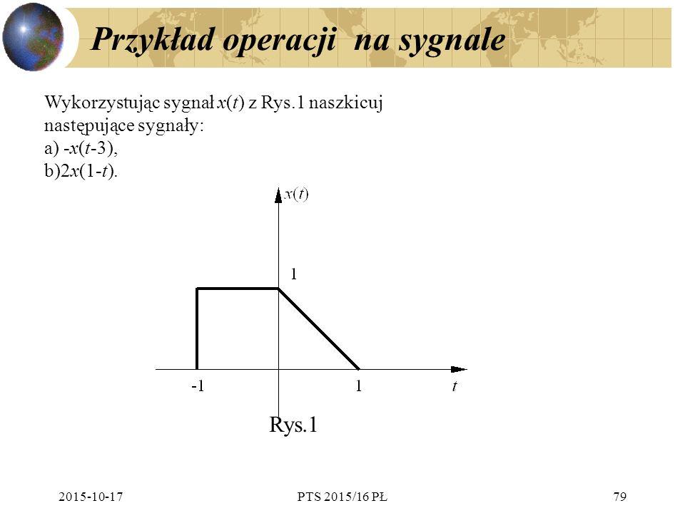 Przykład operacji na sygnale 2015-10-17PTS 2015/16 PŁ79 Wykorzystując sygnał x(t) z Rys.1 naszkicuj następujące sygnały: a) -x(t-3), b)2x(1-t). Rys.1