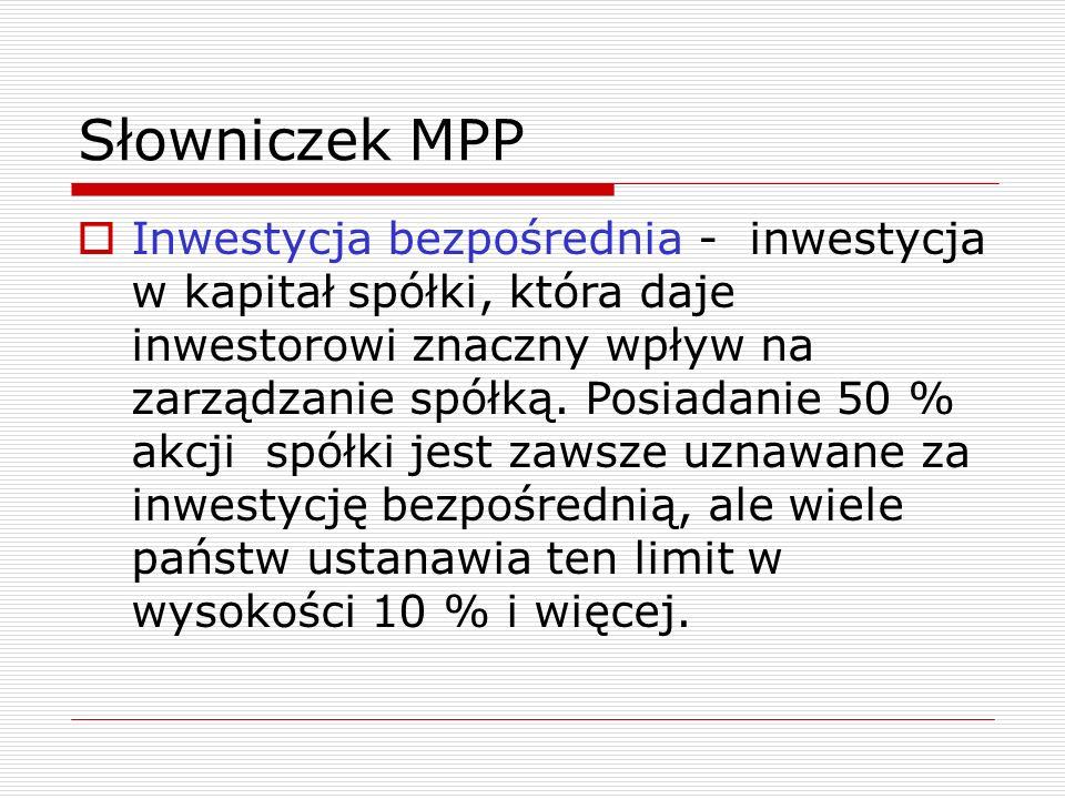 Słowniczek MPP  Inwestycja bezpośrednia - inwestycja w kapitał spółki, która daje inwestorowi znaczny wpływ na zarządzanie spółką.